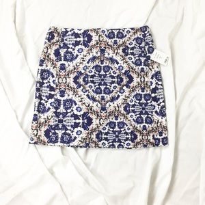 NWT Blue & White Floral Kaleidoscope Skirt